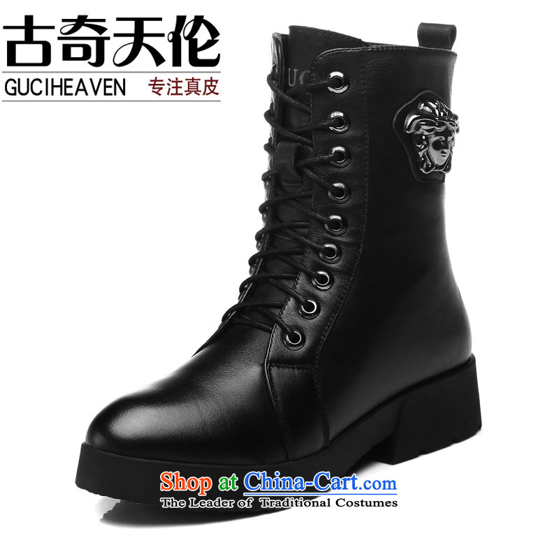 Gooch First layer cowhide Tianlun Songhe ladies boot leather boots in rivets women shoes rough with Martin Eden boots black : 8109 40