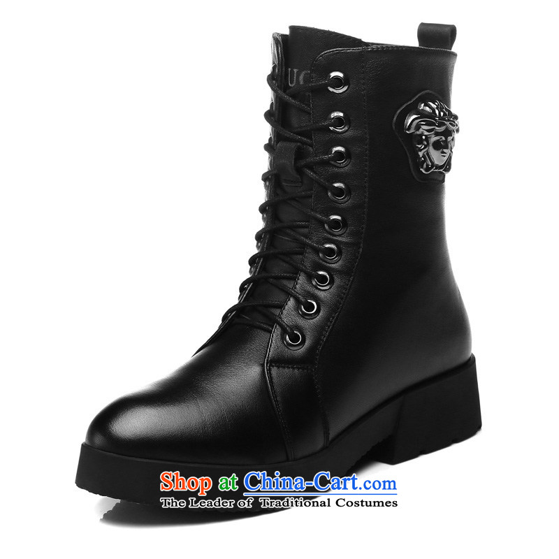 Gooch First layer cowhide Tianlun Songhe ladies boot leather boots in rivets women shoes rough with Martin Eden boots black : 8109 40, Gooch Tilen , , , shopping on the Internet