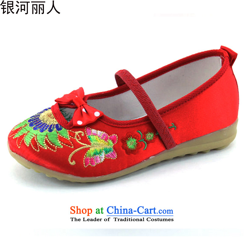 The new lovely girls, children's shoes, embroidered shoes Dance Shoe girls soft bottoms single shoe old Beijing mesh upper for women 5804 Red 17 Codes/inner length of 16.5CM