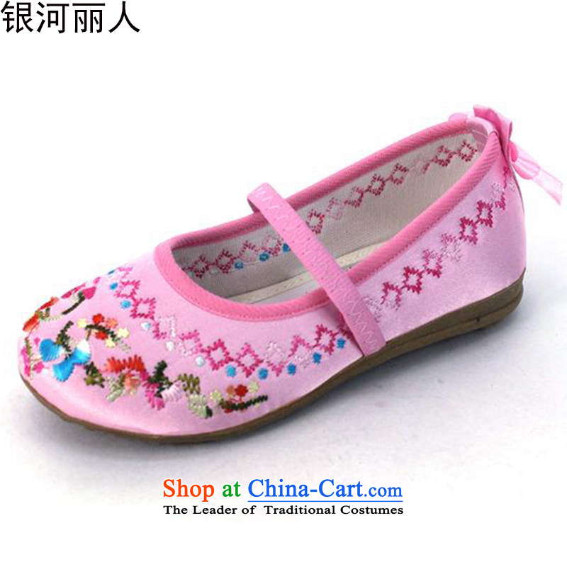 Where fresh new products of Old Beijing mesh upper innocent and lively children shoes embroidered shoes with soft, baby girl shoe single shoe Dance Shoe 5803 pink 19 Codes/inner length of 18.5CM