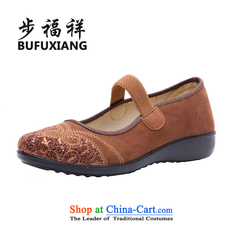 Step Fuxiang trendy New, Old Beijing mesh upper leisure shoes comfortable single mother of women shoes W-013 pin gold39