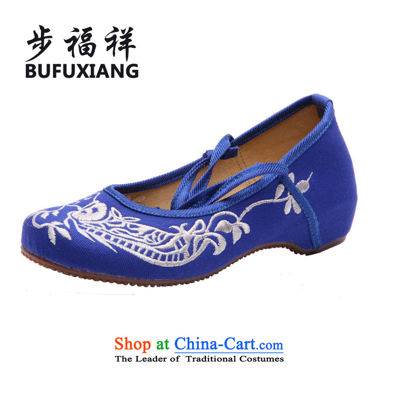 Step Fuk Cheung new stylish old Beijing increased within stylish mesh upper embroidered shoes new spring and autumn 8807 blue fish shoes .聽40