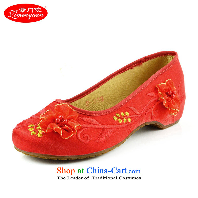 The first door of Old Beijing Ms. mesh upper embroidered shoes marriage shoes red single shoe with small slope rising within single shoe ethnic bride shoes dress shoes red Golden Flower 40