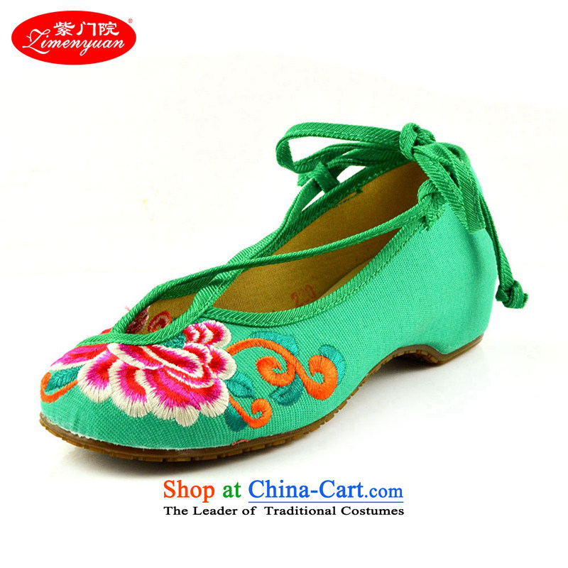 The first door of Old Beijing mesh upper couture embroidered shoes of ethnic single shoe with new spring and autumn slope shallow port shoes increased women's shoe Green 39