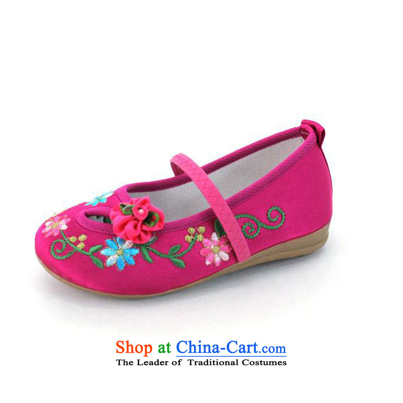 Genuine Old Beijing mesh upper innocent and lively girls shoes embroidered shoes women shoes bottom beef tendon Children shoes Dance Shoe Type 5801 No. 17 pink type 5801/inner length of 16.5CM