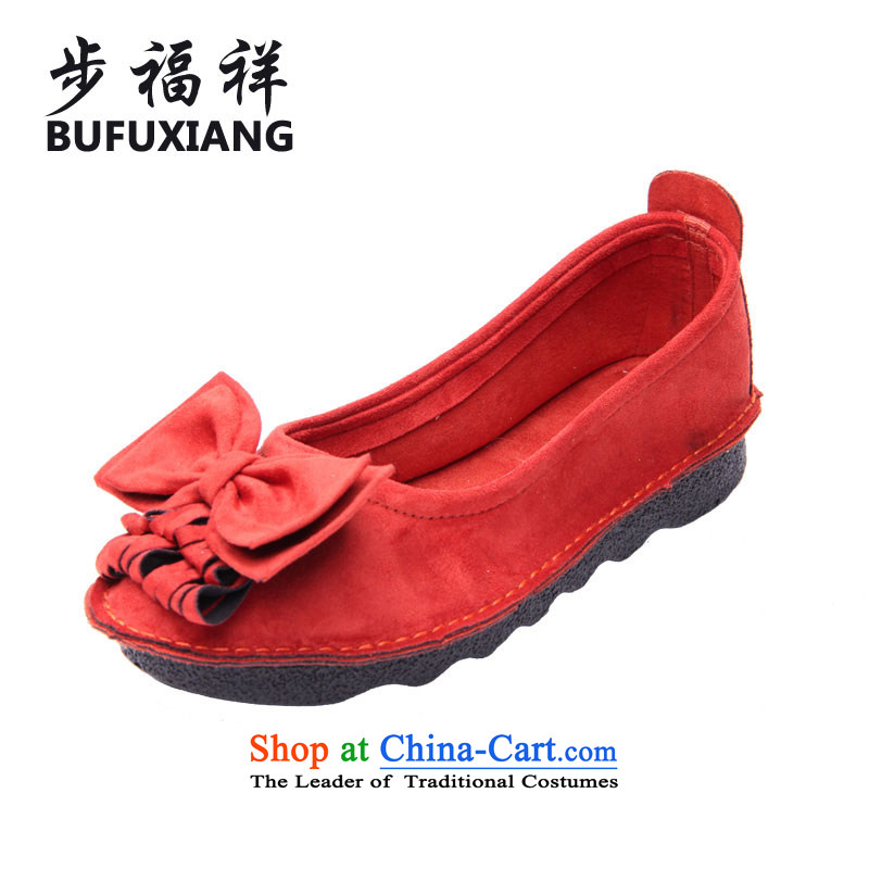 Step Fuxiang spring new women's shoes boat shoes single flower girl mesh upper National Shoe wind stylish shoe 76063.5 Red 35