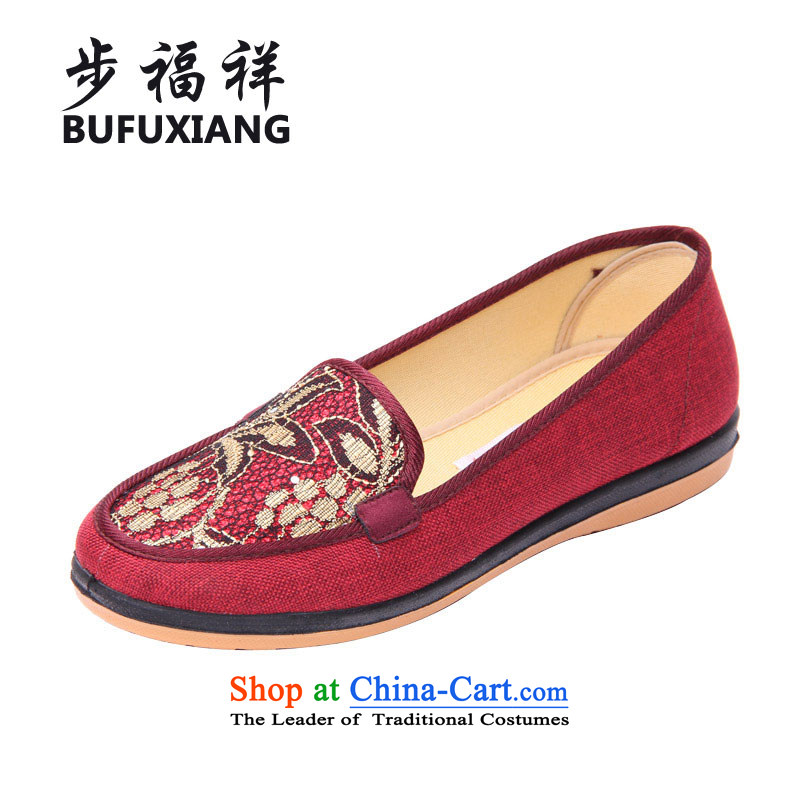 Step Fuk Cheung Chun, women shoes mother shoe stylish ethnic SHOES WITH SOFT, NON-SLIP breathable mesh upper with older women in old Beijing mesh upper W21 Red 40