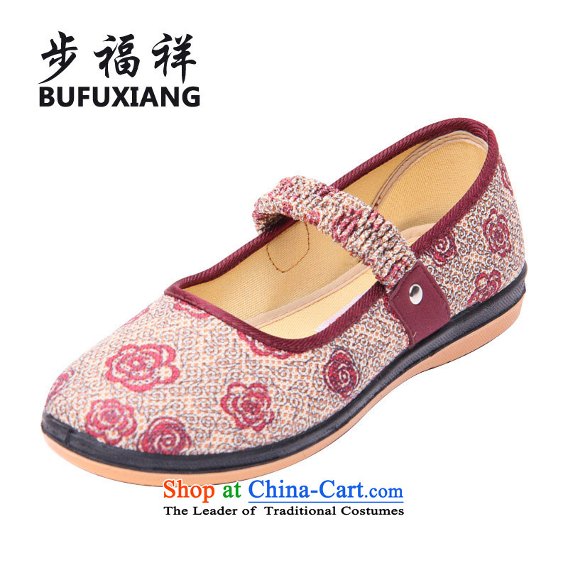 Step Fuk Cheung 2015 new old Beijing mesh upper for women of ethnic elastic fabric mother footwear in the older women shoes mesh upper W22 Red 39