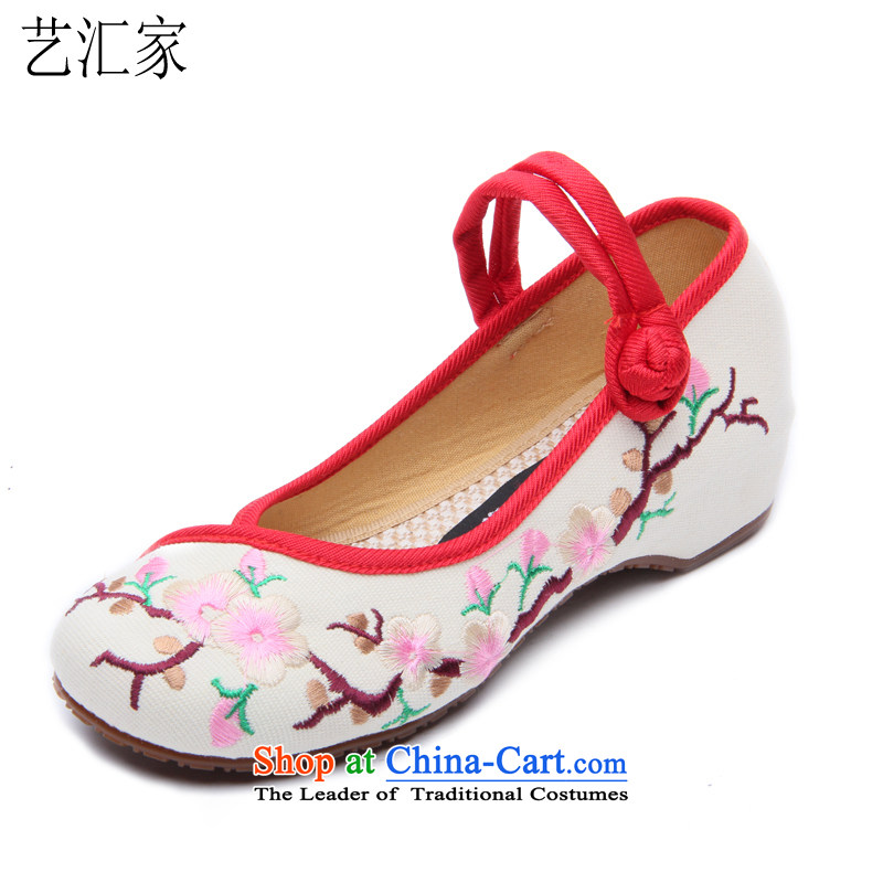 The 2015 new ethnic embroidered shoes of Old Beijing hasp female mesh upper mesh upper single shoe slope with the embroidered shoes D-1002 8802 m White 35