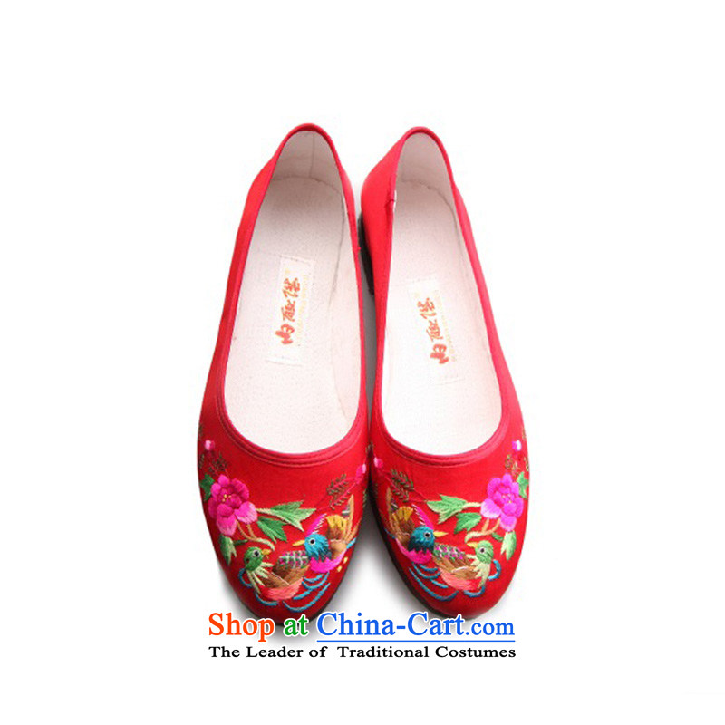 Inline l women shoes old Beijing mesh upper leather panelled core half-gon sea embroidered RMB Female leather upper with mesh 7251A it black peony 35