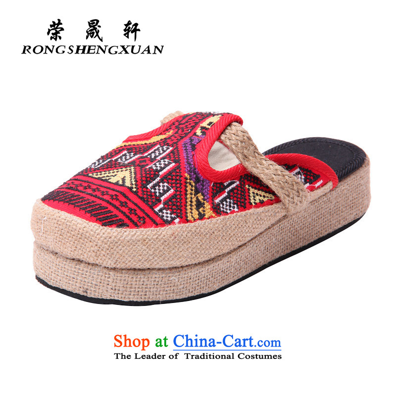 Yong-sung, Ms. Xuan trendy new embroidery female old Beijing home mesh upper drag thick embroidered slippers 7002 Red39