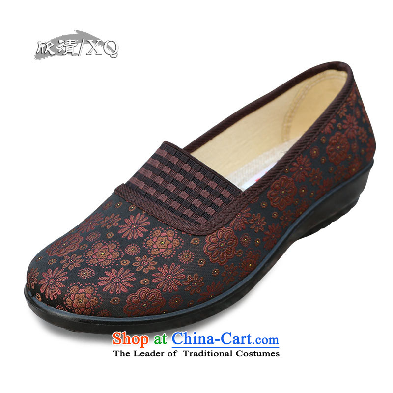 Welcomes the new spring winding the elderly in the breathable mesh upper with old Beijing mother shoes comfortable shoes flat bottom dance L109 embroidered shoes brown 37