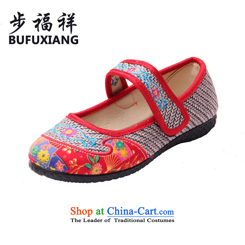 Step Fuk Cheung 2015 new women's mesh upper embroidered shoes of ethnic embroidered shoes of Old Beijing mesh upper with velcro single shoe 6-197 Gray 39