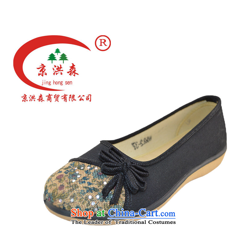 The old Beijing fabric, Putin Hun Sen genuine rubber sole health breathable flat bottom low trendy coffee-colored shoes mother 39