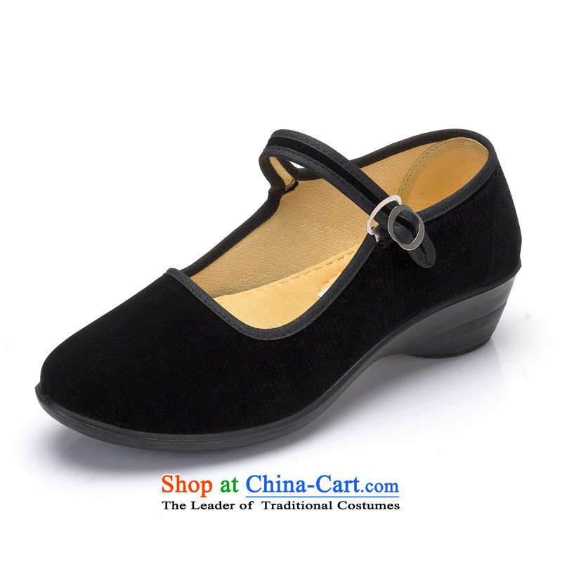 Mesh upper with genuine old Beijing women shoes . The the high-heel shoes slope with the hotel overalls work Shoes Plaza Dance Shoe black mesh upper black 37