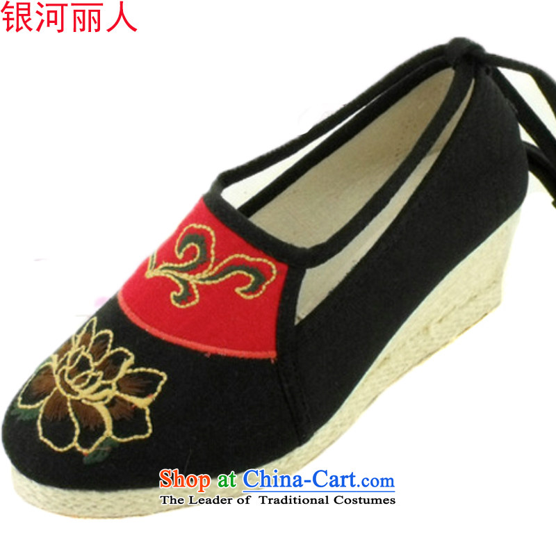 Mesh upper with genuine old Beijing women shoes mesh upper stylish girl shoe Tai Pei shoe with embroidered shoes women shoes during the spring and autumn single shoe princess A1005 A1005 black 39