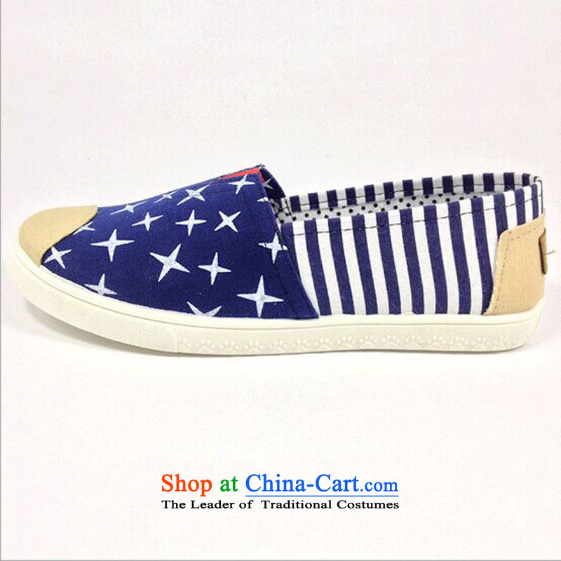 The spring and summer of 2015, good way of Old Beijing woman shoes, casual women shoes canvas shoes . lazy people relaxing and comfortable with a flat bottom surface mesh upper Y-510 E Blue36