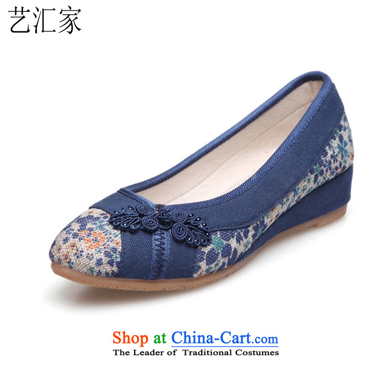 Performing Arts, 2015 new high-heel shoes embroidered shoes stylish single shoe old Beijing Ms. mesh upper leisure shoes slope with women shoes Blue 35