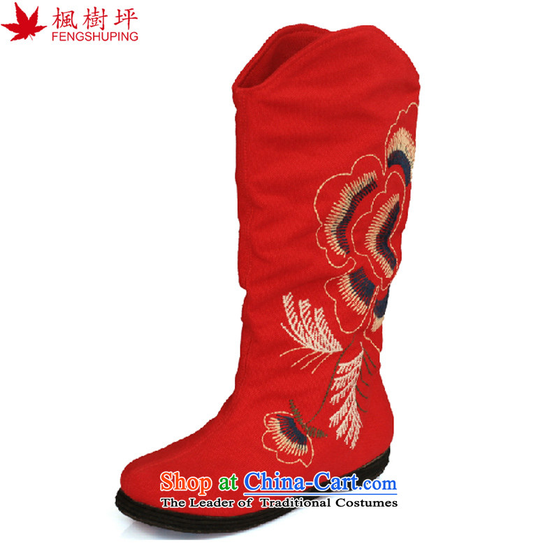Maple-pyeong of Old Beijing mesh upper ladies boot thousands ground spring and autumn embroidery characteristics of the boots  FJ13510 Red 38