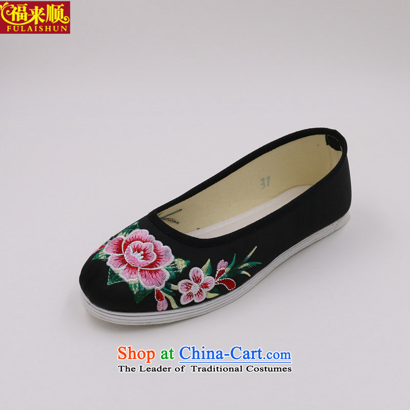 Mesh upper with old Beijing ethnic women embroidered shoes bottom-chin satin embroidered peony light port 603, black shoes .38