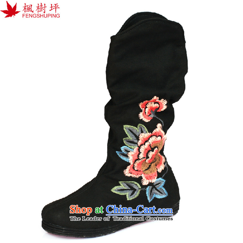 Maple-pyeong of Old Beijing mesh upper ladies boot thousands ground spring and autumn embroidery characteristics of the boots black FJ13715 38