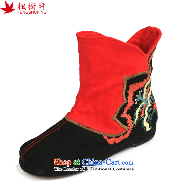 Maple-pyeong of Old Beijing mesh upper floor fourth quarter of thousands of women embroidery bootie characteristics of ethnic ladies boot�37