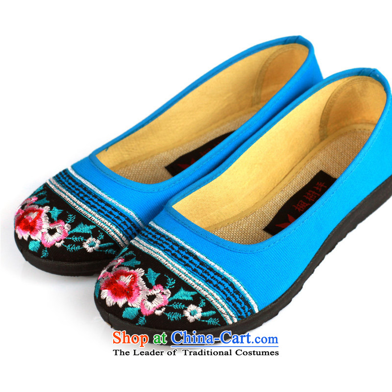 Maple ping the spring and summer of Old Beijing mesh upper women shoes embroidered shoes female_ flat bottom tsutsu shoes of ethnic women shoes FLJC1301-5 Blue 37