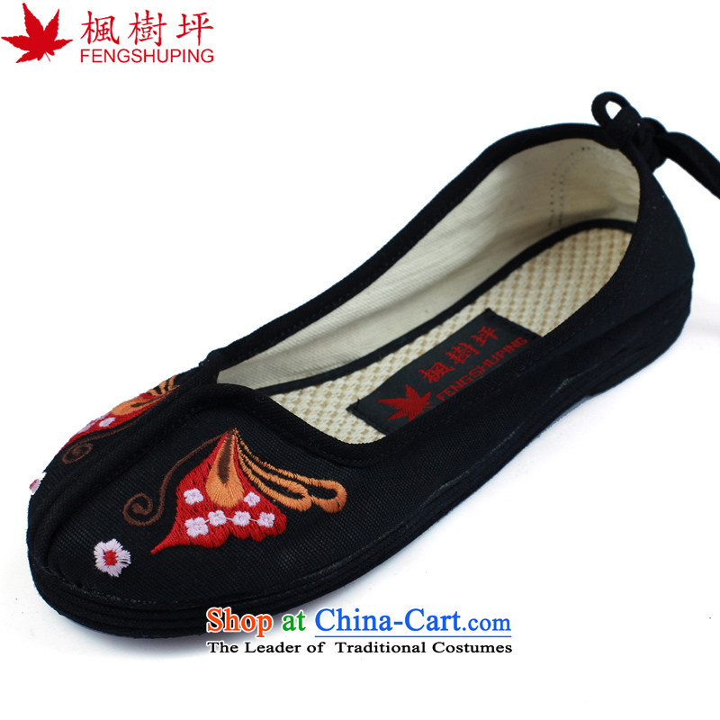 Maple-pyeong of Old Beijing mesh upper embroidered shoes bride shoes marriage shoes characteristics during the spring and autumn low women shoes blackA618 39