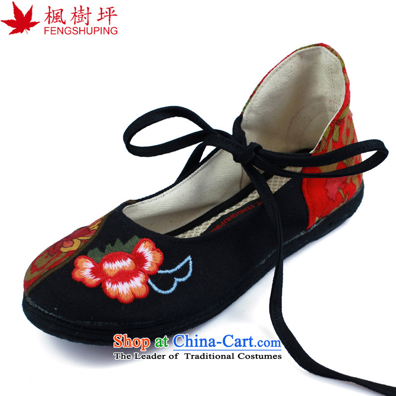 Maple Ping embroidered shoes of Old Beijing mesh upper floor single shoes thousands of the spring and summer of ethnic women shoes black A621 40