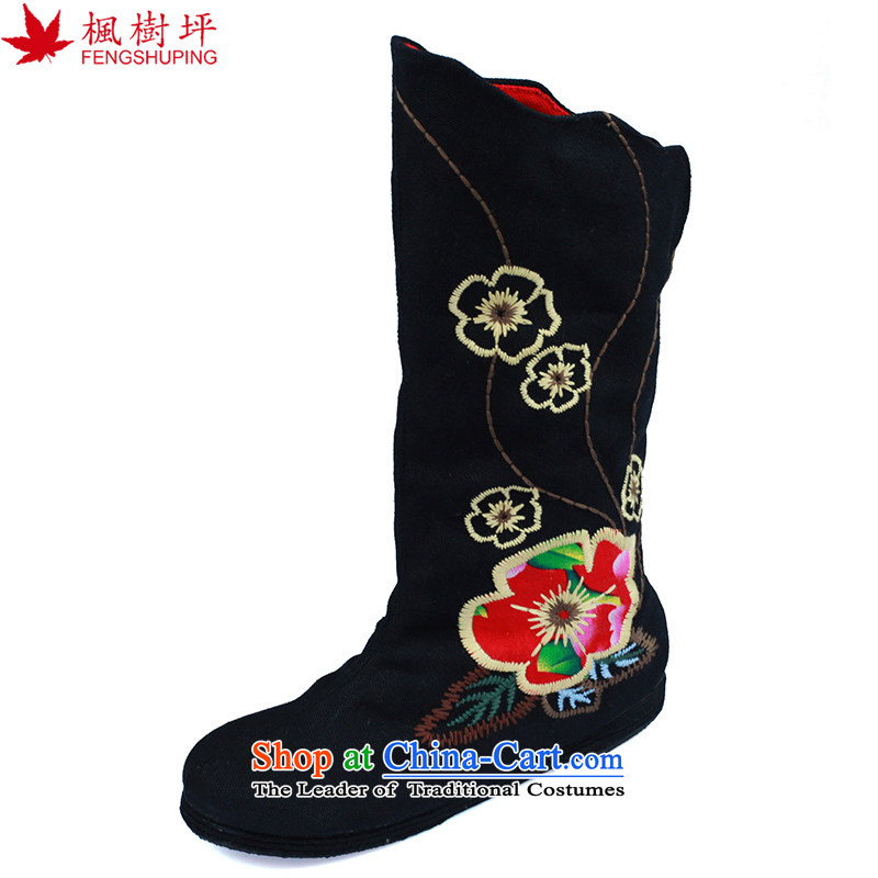 Maple-pyeong of Old Beijing mesh upper ladies boot ethnic embroidered shoes thousands of high and the black boots the lint-free E15M 39