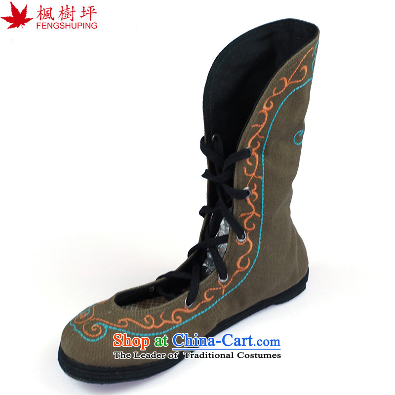 Maple-pyeong of Old Beijing mesh upper embroidered shoes, and trendy straps ladies boot order women shoes cool boots DARKKHAKI M16 x 35