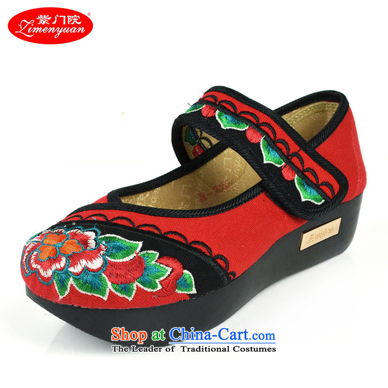 The first door of Old Beijing mesh upper spring of female embroidered shoes, thick yoyos shoes bottom cake thin women increased ethnic single shoes shoes Red36