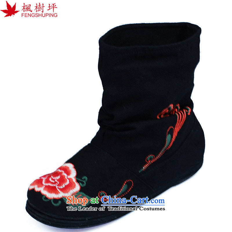 Maple-pyeong of ethnic old Beijing mesh upper end of thousands of embroidery boots characteristics women married black single Boot C15 40