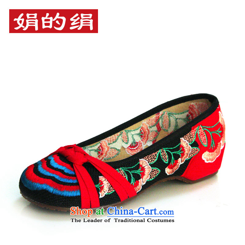 The silk autumn old Beijing mesh upper embroidered shoes of ethnic slope with women shoes increased within single shoe 525A74 canvas black 36
