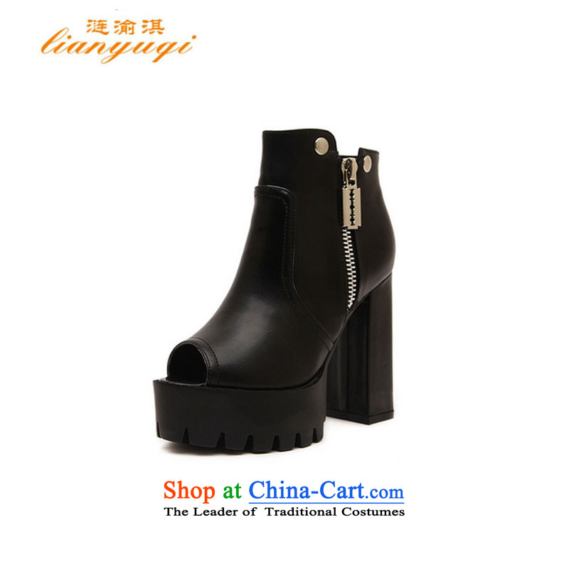 Without prejudice to thespring and summer of 2015, Qi Chongqing New Women's Shoe thick black sexy lips fish in the the high-heel shoes soft deep zipper shoes 168-2 Black39