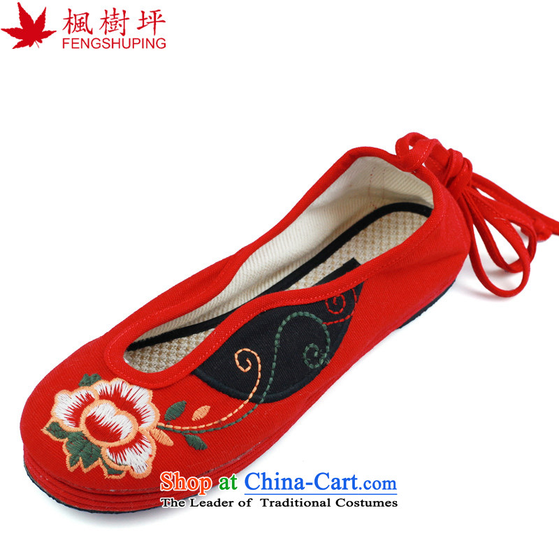 Maple-pyeong of ethnic women shoes of Old Beijing mesh upper embroidered shoes bottom thousands of moms shoes A613 Red 36