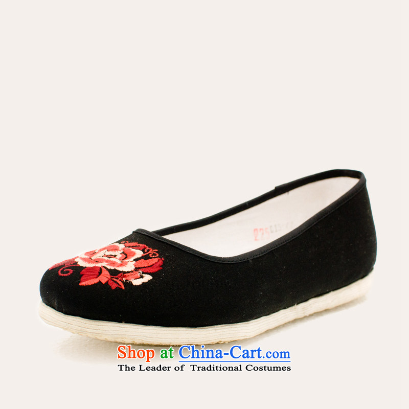 The Scarlet Letter of Ramadan Old Beijing mesh upper genuine thousands of old Beijing shoes bottom of ethnic embroidered shoes Leisure Comfort Women's shoes comfortable shoes . 37 Black