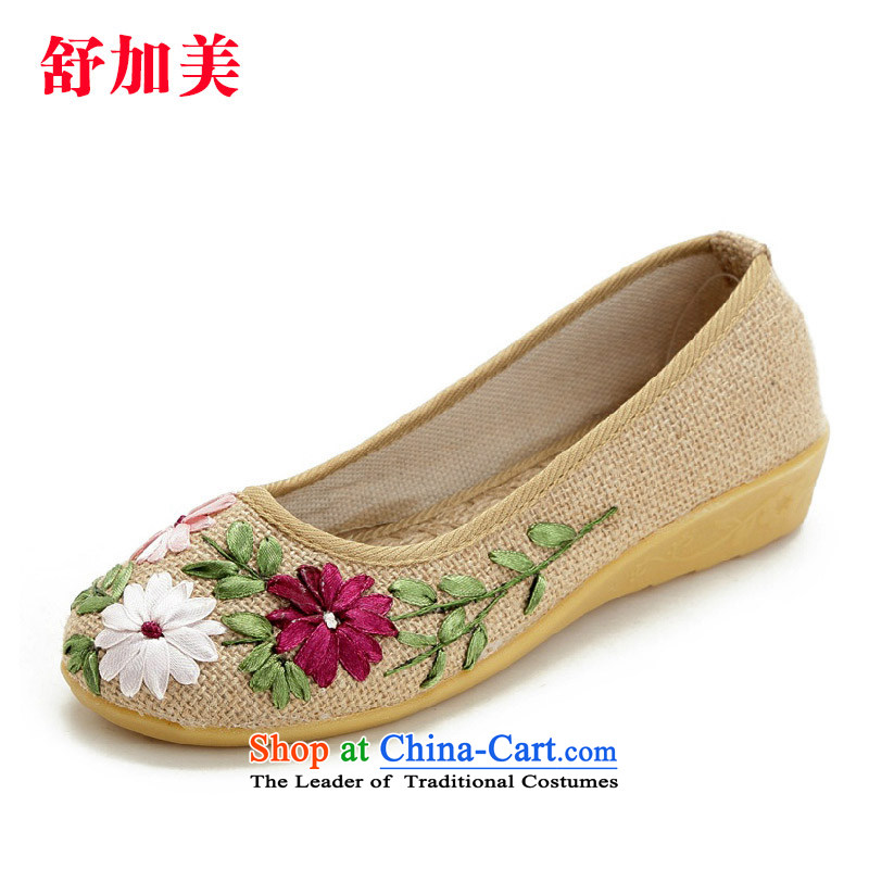 The electoral support C.O.D. 銆� Suga American 2015 spring of Old Beijing women shoes single shoe mesh upper hand embroidered shoes large stylish flat with mother mesh upper with beige聽38