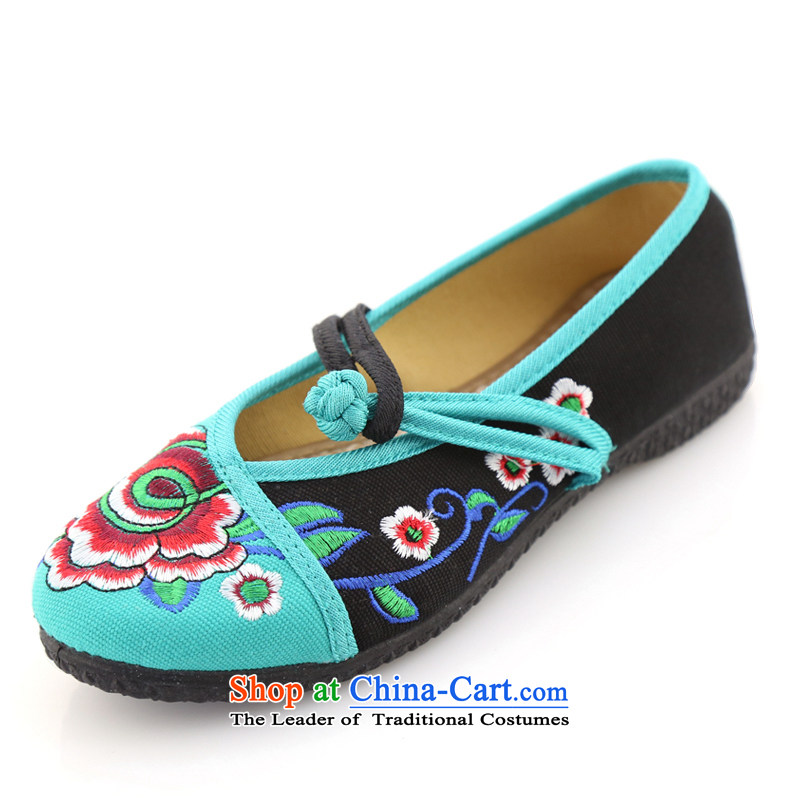 The Scarlet Letter of Ramadan mesh upper spring of Old Beijing New President embroidered shoes flat shoe ethnic women shoes single shoe mesh upper Blue 37