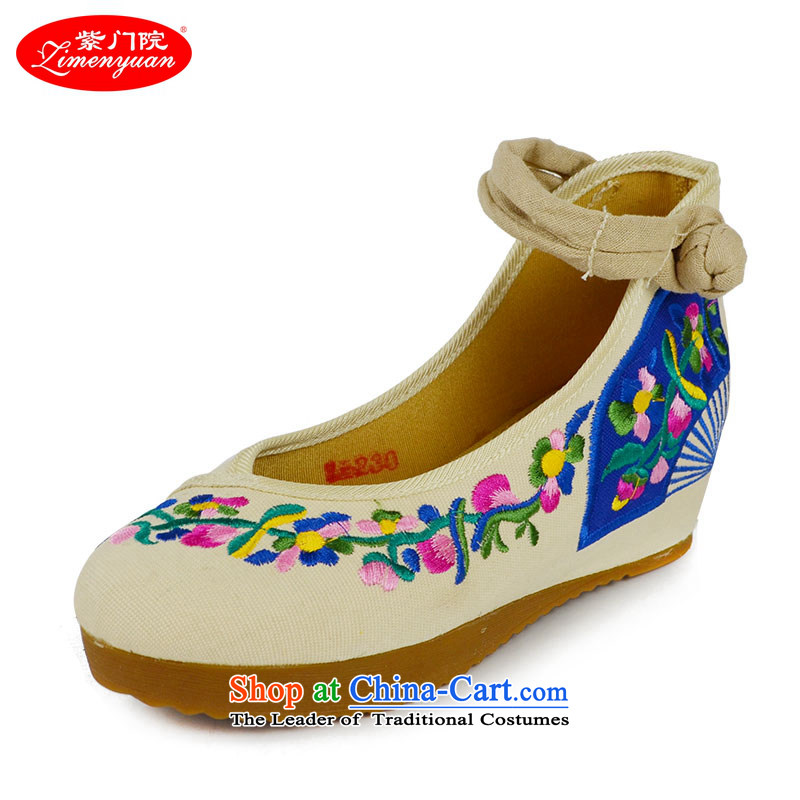 The first door of Old Beijing mesh upper female embroidered shoes high heels spring and summer ethnic single shoe thick rising within women shoes stylish embroidery beige 37