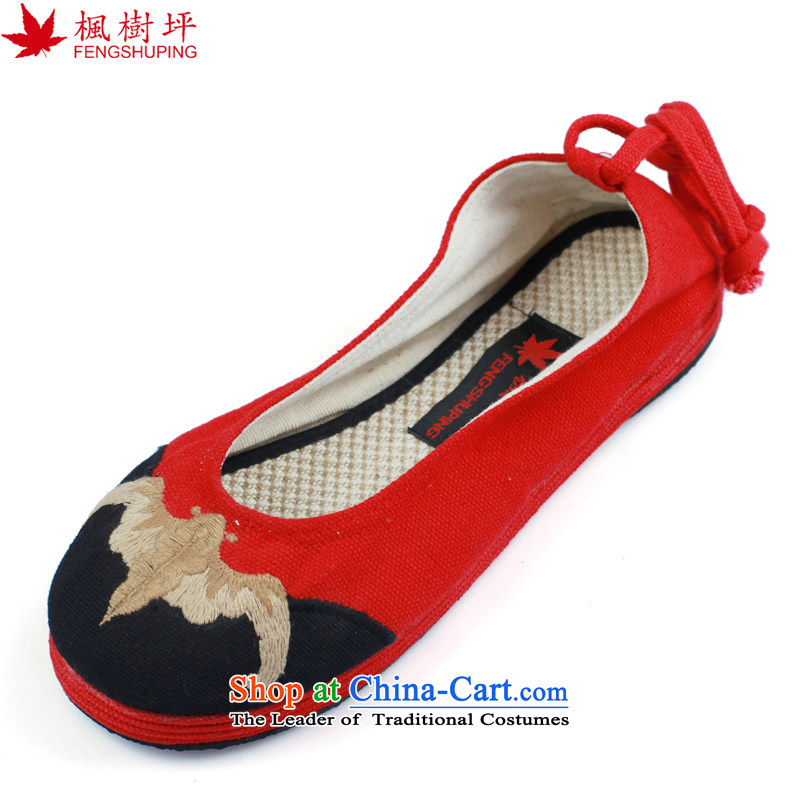 Maple-pyeong of Old Beijing mesh upper ethnic embroidered shoes moms shoes pregnant woman shoes red K10 36