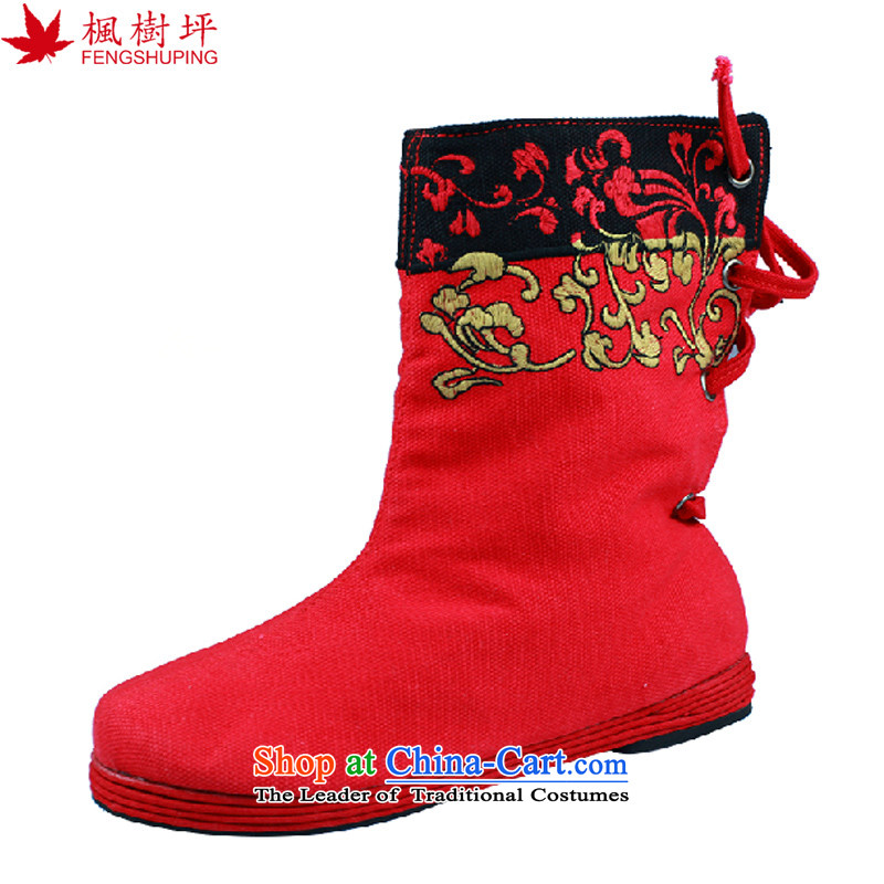 Maple-pyeong of Old Beijing mesh upper women shoes cotton linen cloth boots female embroidery Trait Single Shoot newlyweds shoes IPODÂ Red 37