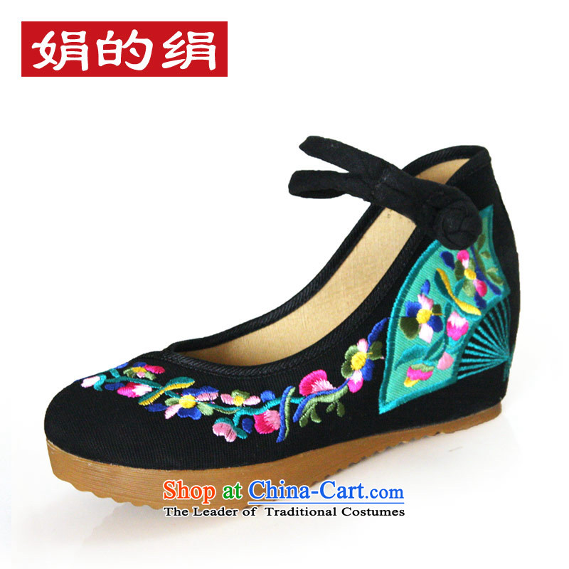 The silk fall within the old Beijing mesh upper increase embroidered shoes women shoes retro national windsurfing, slope with shoes  A108-4 black 37