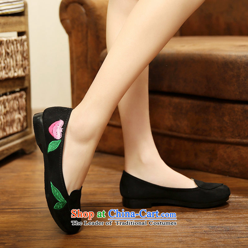 The fall of Old Beijing shoes silk embroidered shoes anti-lint-free cloth light port soft bottoms flat bottom round head womens single shoe1011Black 37, Ms Shelley silk , , , shopping on the Internet