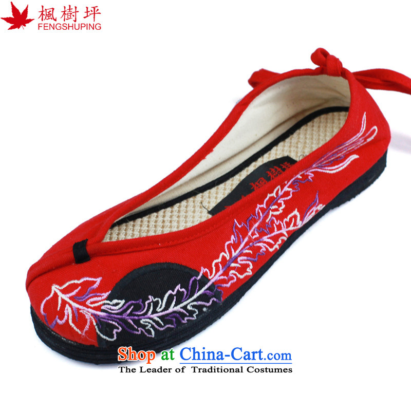 Maple ping original old Beijing mesh upper ethnic embroidered shoes moms thousands of Bottom shoe red L10 35