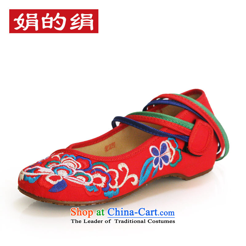 The silk fall within the old Beijing increased women's shoes shoes of ethnic leisure slope with the embroidered shoes 525A13 shoes red 36 Marriage