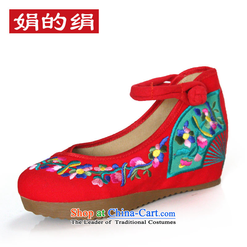 The silk fall within the old Beijing mesh upper increase embroidered shoes women shoes retro national windsurfing, slope with shoes  A108-4 Red 37