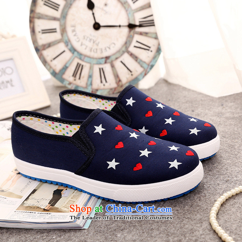 The spring of the year 2015 a new women's shoe canvas shoes stylish light port single shoe lazy people shoes flat bottom flat with a minimalist stirrups B056YZ Blue 39