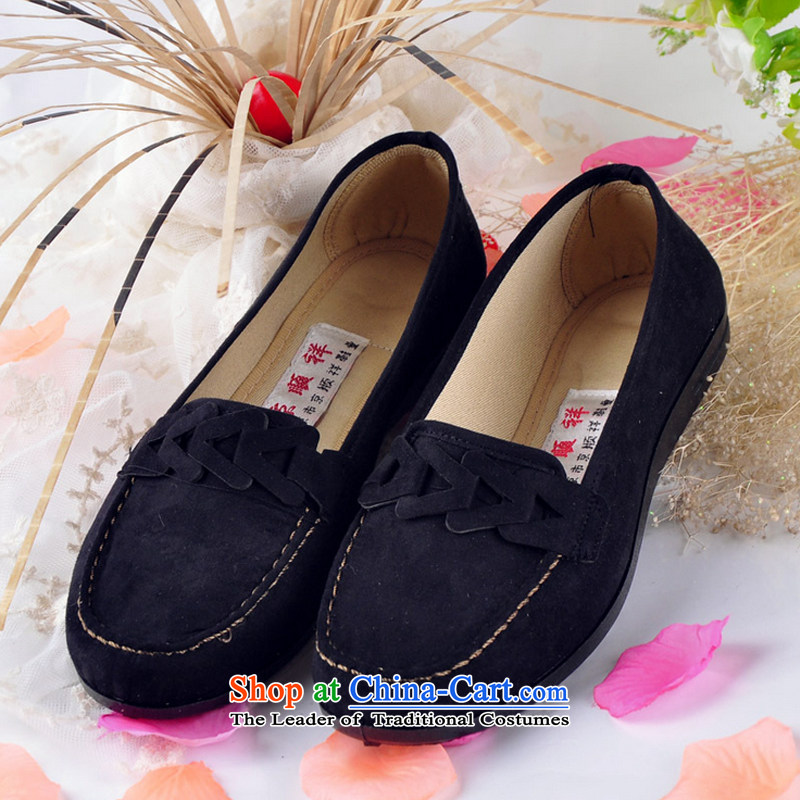 The Korean version of the new 2015 flat bottom shoe light color mix sutures car and comfortable shoes women shoes Bow Tie Baotou B046YZ black 36