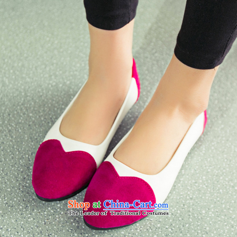 2015 Spring New Leisure shoes Korean womens single color spell shoes love-Round Head tsutsu shoes pregnant women shoes female shoes mother B004YZ Red 37